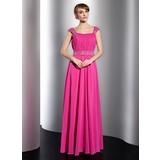 A-Linie/Princess-Linie U-Ausschnitt Bodenlang Chiffon Festliche Kleid mit Rüschen Perlen verziert