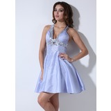 Empire V-neck Knee-Length Taffeta Homecoming Dress With Ruffle Sequins (022020849)