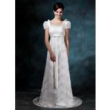 Tubo Decote redondo Sweep/Brush trem Cetim Renda Vestido de noiva com Curvado