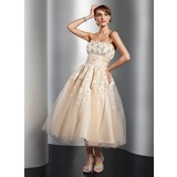 A-Line/Princess Strapless Tea-Length Tulle Wedding Dress With Ruffle Lace Beading Flower(s)
