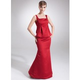 Empire Square Neckline Floor-Length Satin Maternity Bridesmaid Dress With Ruffle (045004389)