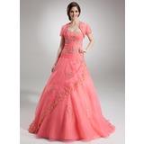 Duchesse-Linie Herzausschnitt Bodenlang Organza Quinceañera Kleid (Kleid für die Geburtstagsfeier) mit Perlen verziert Applikationen Spitze Pailletten