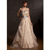 A-Line/Princess Floor-Length Taffeta Organza Prom Dress With Ruffle Sash Appliques (018015055)