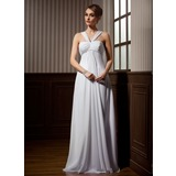 Empire V-neck Watteau Train Chiffon Wedding Dress With Ruffle Beadwork (002011424)