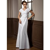 Sheath V-neck Floor-Length Taffeta Bridesmaid Dress With Ruffle (007001489)