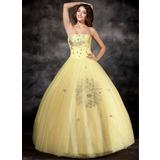 Duchesse-Linie Trägerlos Bodenlang Organza Quinceañera Kleid (Kleid für die Geburtstagsfeier) mit Perlen verziert