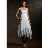 Corte imperial Asimétrico Chifón Vestido de novia con Encaje Cascada de volantes