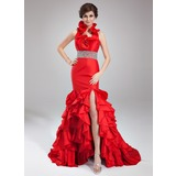 Mermaid Halter Court Train Taffeta Prom Dress With Beading (018021082)