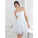 Empire One-Shoulder Short/Mini Chiffon Homecoming Dress With Ruffle Lace Beading (022020691)