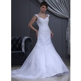 Trumpet/Mermaid Sweetheart Chapel Train Satin Organza Wedding Dress With Lace Beading