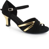 Patent Leather Suede Heels Sandals Latin Dance Shoes With Ankle Strap (053021444)