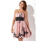 Empire Sweetheart Short/Mini Taffeta Homecoming Dress With Sash Beading Appliques Lace