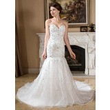 Mermaid Sweetheart Chapel Train Organza Satin Wedding Dress With Embroidery Beadwork Sequins (002011528)