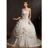 Ball-Gown Chapel Train Chiffon Satin Tulle Wedding Dress With Lace Beadwork Flower(s) (002015173)