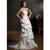 A-Line/Princess Strapless Court Train Taffeta Wedding Dress With Ruffle Lace Beading