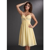 Empire Sweetheart Knee-Length Chiffon Homecoming Dress With Ruffle Beading Sequins (022020701)