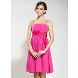 Empire Knee-Length Chiffon Charmeuse Bridesmaid Dress With Sash Beading (007020883)