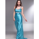 A-Line/Princess Scoop Neck Sweep Train Charmeuse Prom Dress With Ruffle Beading (018013060)