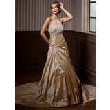 A-Line/Princess Halter Chapel Train Taffeta Organza Wedding Dress With Ruffle Beadwork (002004550)
