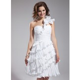 A-Line/Princess One-Shoulder Knee-Length Taffeta Homecoming Dress With Cascading Ruffles Pleated
