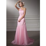 Sheath/Column One-Shoulder Chapel Train Satin Tulle Wedding Dress With Ruffle Lace Beadwork (002011380)