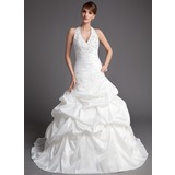 Ball-Gown Halter Chapel Train Taffeta Wedding Dress With Ruffle Lace Beadwork (002001447)
