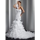 Trumpet/Mermaid One-Shoulder Chapel Train Organza Wedding Dress With Flower(s) Cascading Ruffles