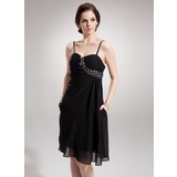 Empire Sweetheart Knee-Length Chiffon Cocktail Dress With Ruffle Beading (016008813)