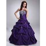 Ball-Gown Strapless Floor-Length Taffeta Quinceanera Dress With Ruffle Lace Beading (021020747)