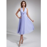 A-Line/Princess Halter Tea-Length Chiffon Bridesmaid Dress With Ruffle Beading (007001067)