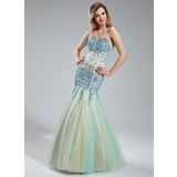 Trumpet/Mermaid Sweetheart Floor-Length Satin Tulle Prom Dress With Beading