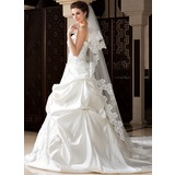 Dos capas Velos de novia capilla con Con Aplicación de encaje (006036670)