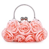 Champagne Gorgeous Silk Evening Handbags/ Clutches/ Top Handle Bags/ Wristlets More Colors Available (012005436)