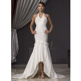 Mermaid Halter Asymmetrical Taffeta Wedding Dress With Beadwork Flower(s) Sequins (002014475)