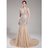 Sheath V-neck Court Train Tulle Prom Dress With Beading (018018993)
