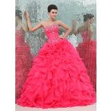 Corte de baile Escote corazón Vestido Organdí Satén Vestido de quinceañera con Bordado Cascada de volantes (021017439)