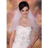 Zweischichtig Fingerspitze Braut Schleier mit Schnittkante