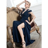 Sheath V-neck Floor-Length Chiffon Evening Dress With Ruffle (017005249)