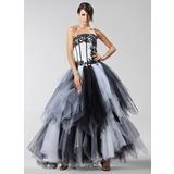 Corte de baile Estrapless Hasta el suelo Satén Tul Vestido de quinceañera con Los appliques Encaje Cascada de volantes (021022475)