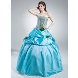 Duchesse-Linie Trägerlos Bodenlang Taft Pailletten Quinceañera Kleid (Kleid für die Geburtstagsfeier) mit Rüschen Blumen