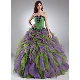 Duchesse-Linie Wellenkante Bodenlang Organza Quinceañera Kleid (Kleid für die Geburtstagsfeier) mit Perlen verziert Applikationen Spitze Blumen Gestufte Rüschen