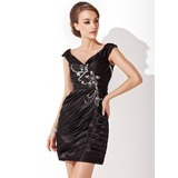 Sheath Off-the-Shoulder Short/Mini Charmeuse Cocktail Dress With Ruffle Beading Sequins (016021155)