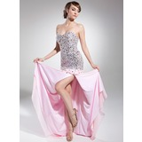 A-Line/Princess Sweetheart Sweep Train Chiffon Prom Dress With Beading Sequins Split Front