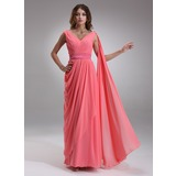 A-Line/Princess V-neck Floor-Length Chiffon Charmeuse Evening Dress With Ruffle (017022552)