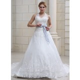 Ball-Gown Halter Cathedral Train Organza Satin Wedding Dress With Lace Sashes Crystal Brooch (002011690)