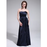 Sheath Sweetheart Floor-Length Charmeuse Bridesmaid Dress With Ruffle (007025354)