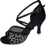 Fabric Nubuck Heels Sandals Latin Dance Shoes With Animal Print (053021604)