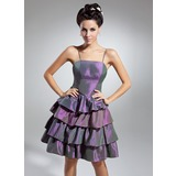 A-Line/Princess Knee-Length Taffeta Cocktail Dress With Ruffle (016015045)