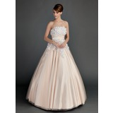 Duchesse-Linie Trägerlos Bodenlang Tüll Quinceañera Kleid (Kleid für die Geburtstagsfeier) mit Rüschen Perlen verziert Blumen
