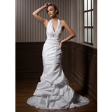 Trumpet/Mermaid Halter Court Train Taffeta Wedding Dress With Ruffle Beading